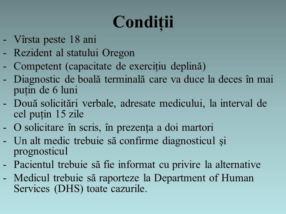 Condiţii -Vîrsta peste 18 ani -Rezident al statului Oregon -Competent (capacitate de exerciţiu deplină) -Diagnostic de boală terminală care va duce la deces în mai puţin de 6 luni -Două solicitări verbale, adresate medicului, la interval de cel puţin 15 zile -O solicitare în scris, în prezenţa a doi martori -Un alt medic trebuie să confirme diagnosticul şi prognosticul -Pacientul trebuie să fie informat cu privire la alternative -Medicul trebuie să raporteze la Department of Human Services (DHS) toate cazurile.