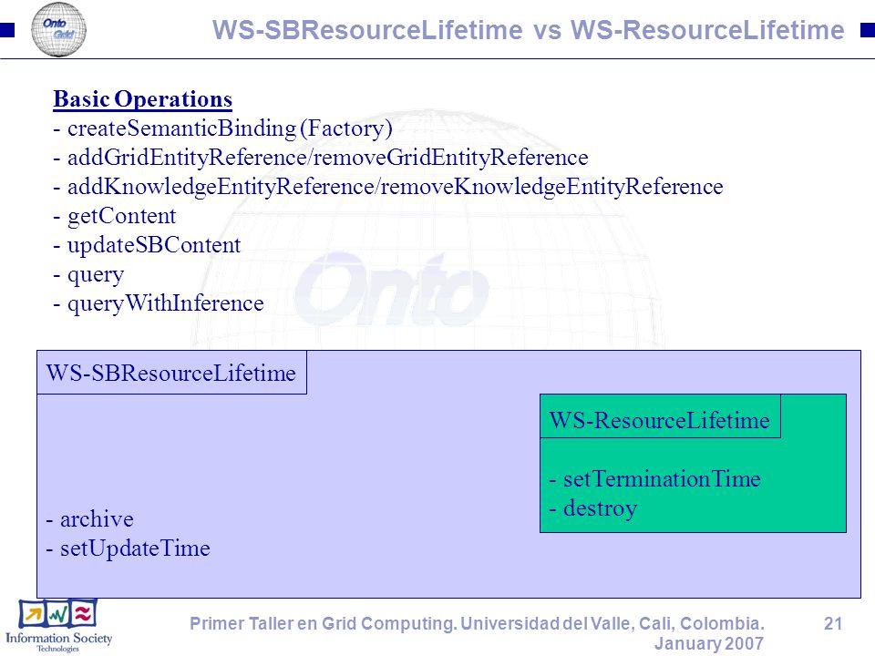 21Primer Taller en Grid Computing. Universidad del Valle, Cali, Colombia. January 2007 WS-SBResourceLifetime vs WS-ResourceLifetime WS-SBResourceLifet