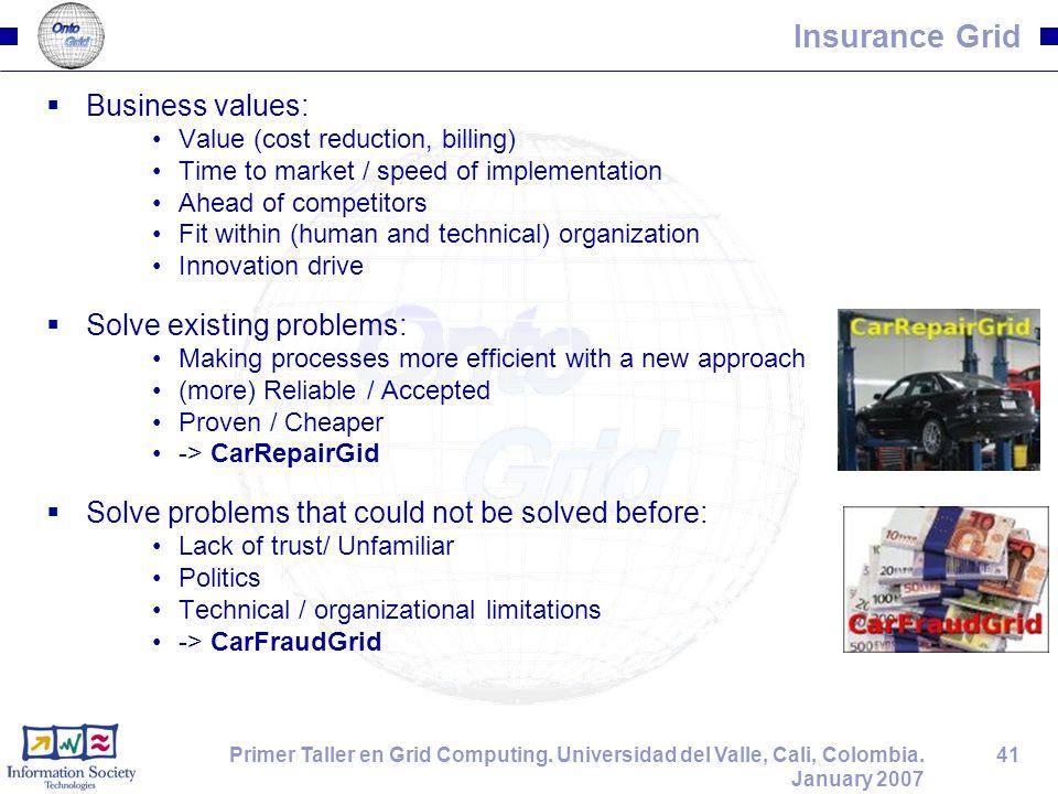 41Primer Taller en Grid Computing. Universidad del Valle, Cali, Colombia. January 2007 Insurance Grid  Business values: Value (cost reduction, billin