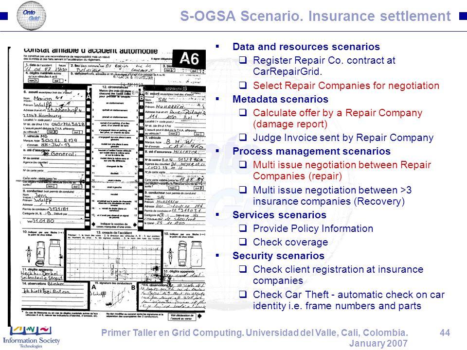 44Primer Taller en Grid Computing. Universidad del Valle, Cali, Colombia. January 2007 S-OGSA Scenario. Insurance settlement  Data and resources scen