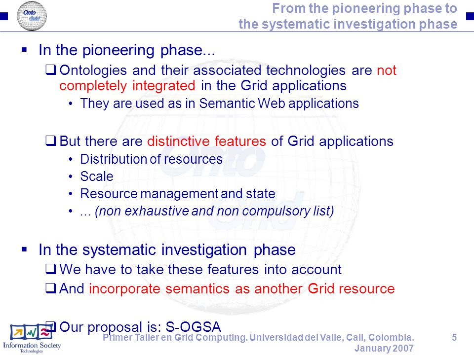 5Primer Taller en Grid Computing. Universidad del Valle, Cali, Colombia. January 2007 From the pioneering phase to the systematic investigation phase
