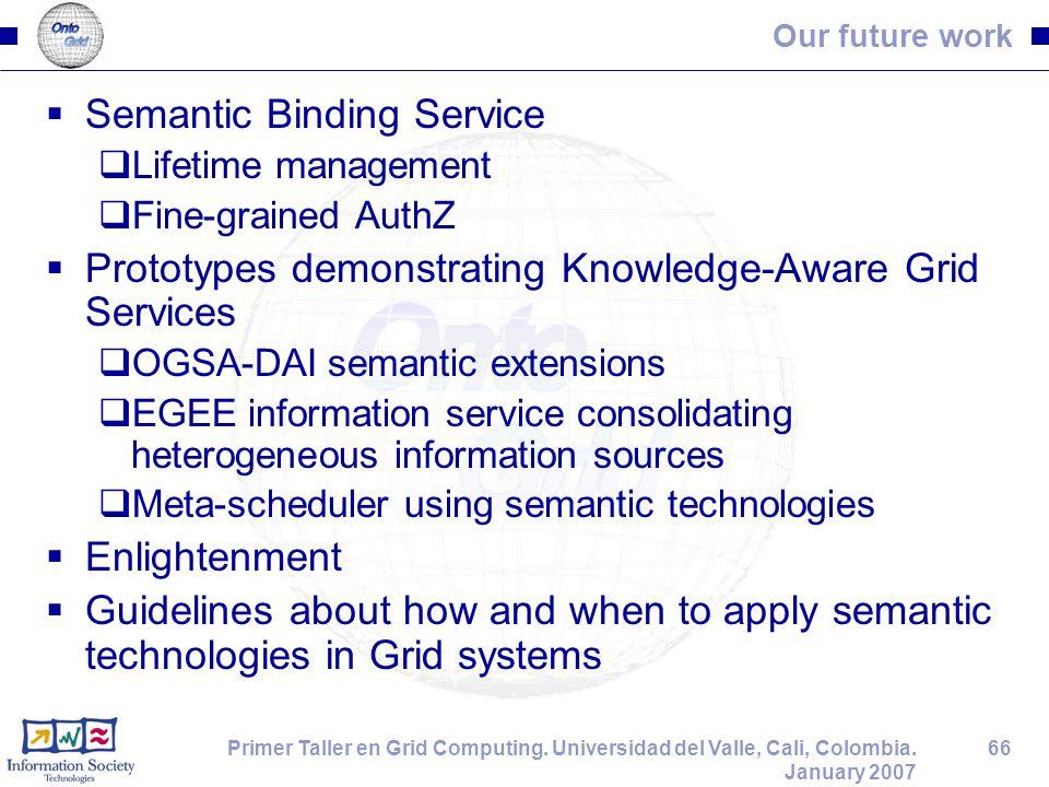 66Primer Taller en Grid Computing. Universidad del Valle, Cali, Colombia. January 2007 Our future work  Semantic Binding Service  Lifetime managemen