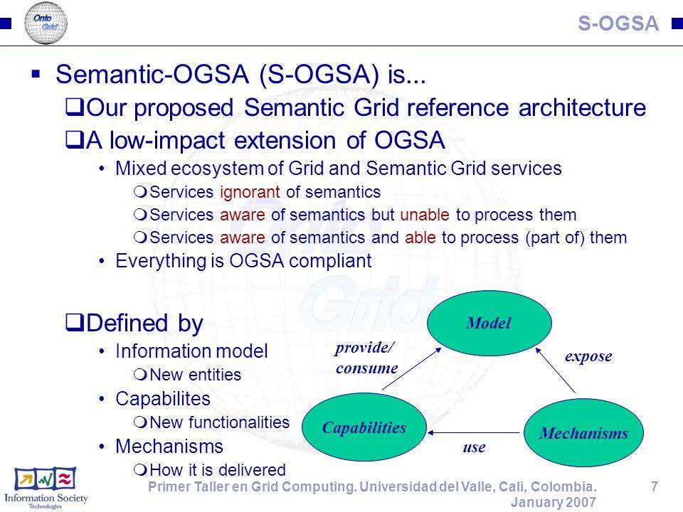 7Primer Taller en Grid Computing. Universidad del Valle, Cali, Colombia. January 2007 S-OGSA  Semantic-OGSA (S-OGSA) is...  Our proposed Semantic Gr
