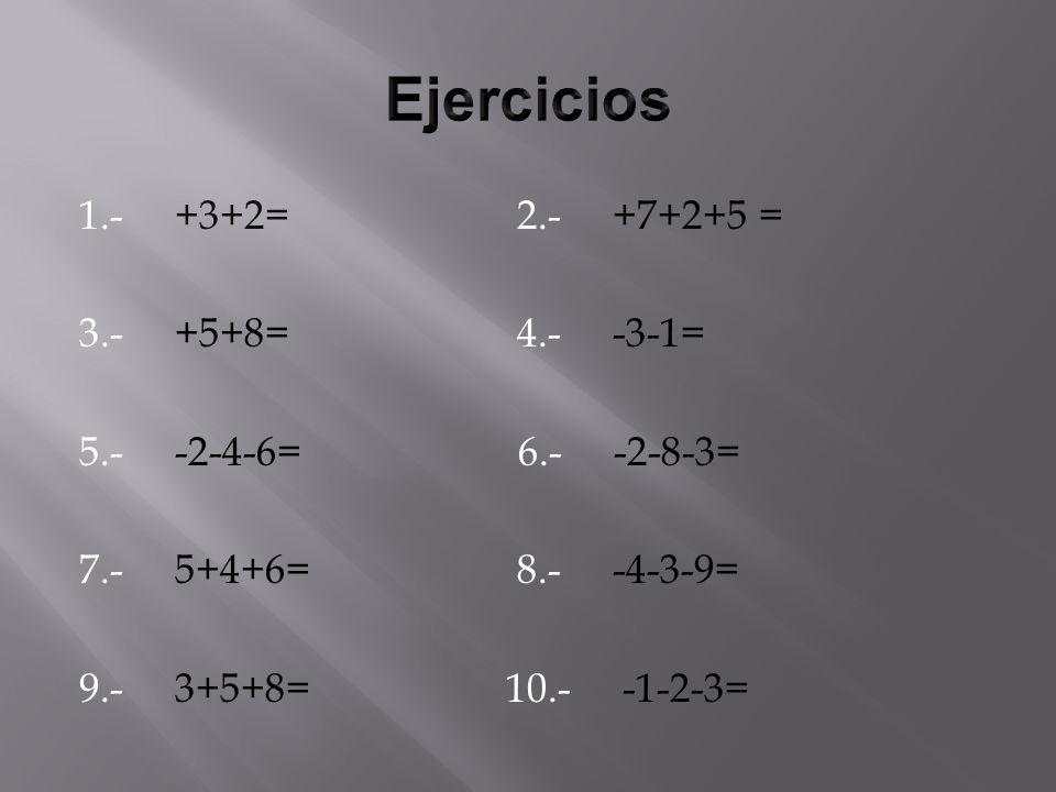 1.- +3+2= 2.- +7+2+5 = 3.- +5+8= 4.- -3-1= 5.- -2-4-6= 6.- -2-8-3= 7.- 5+4+6= 8.- -4-3-9= 9.- 3+5+8= 10.- -1-2-3=