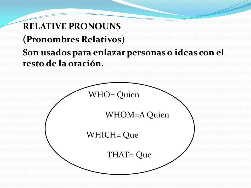 RELATIVE PRONOUNS (Pronombres Relativos) Son usados para enlazar personas o ideas con el resto de la oración.