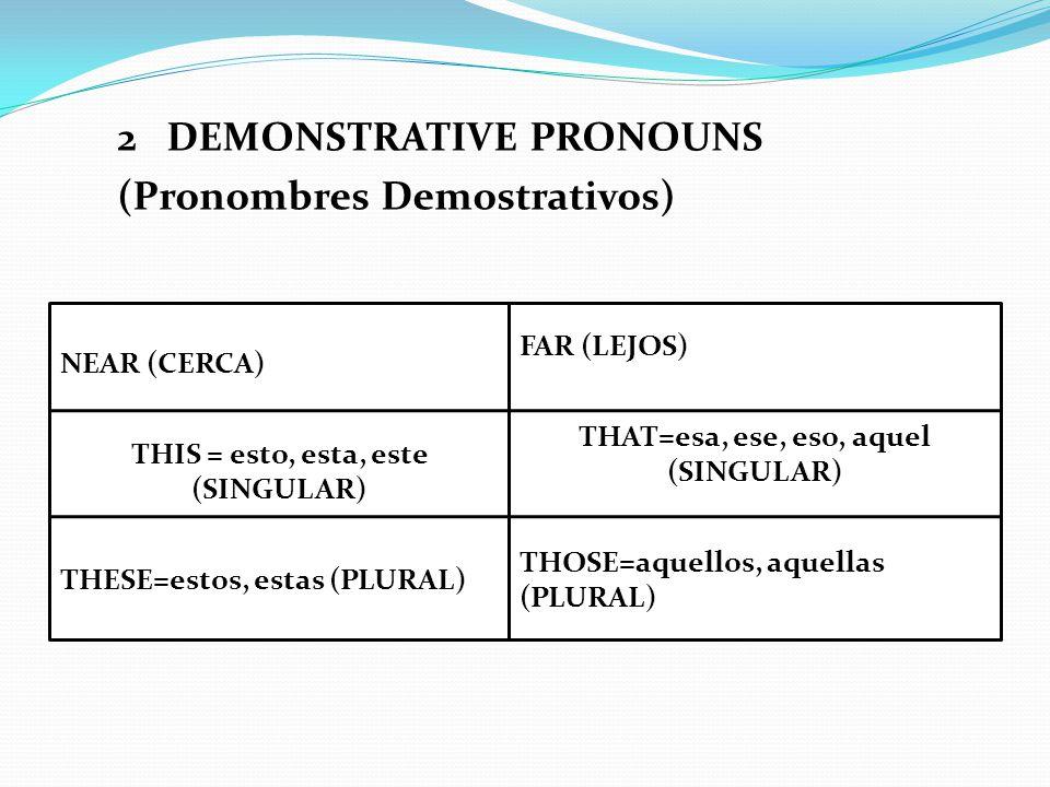 WRITE THE CORRECT DEMONSTRATIVE PRONOUN ACCORDING TO THE DISTANCE (Escribe el correcto pronombre según la distancia) LIGHTPEN (NEAR) THIS IS A LIGHTPEN FLASH MEMORIES (FAR) THOSE ARE FLASH MEMORIES DESIGN PROGRAM THIS IS…A DESIGN PROGRAM