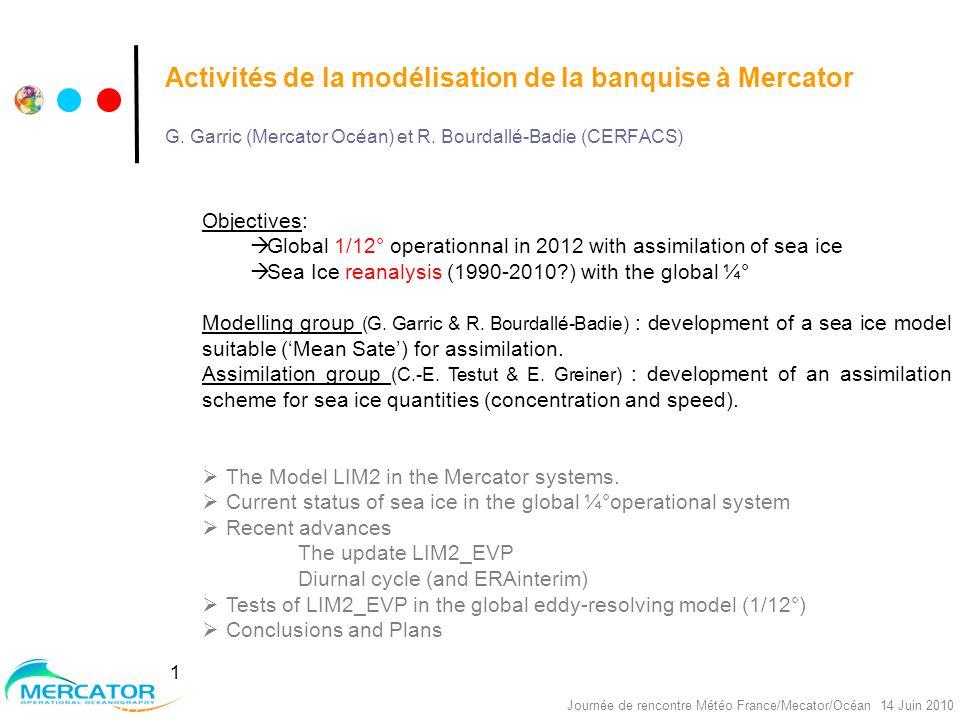 Nereus Project, réunion Océano, Toulouse, 30/09/2008 Journée de rencontre Météo France/Mecator/Océan 14 Juin 2010 1 Activités de la modélisation de la banquise à Mercator G.