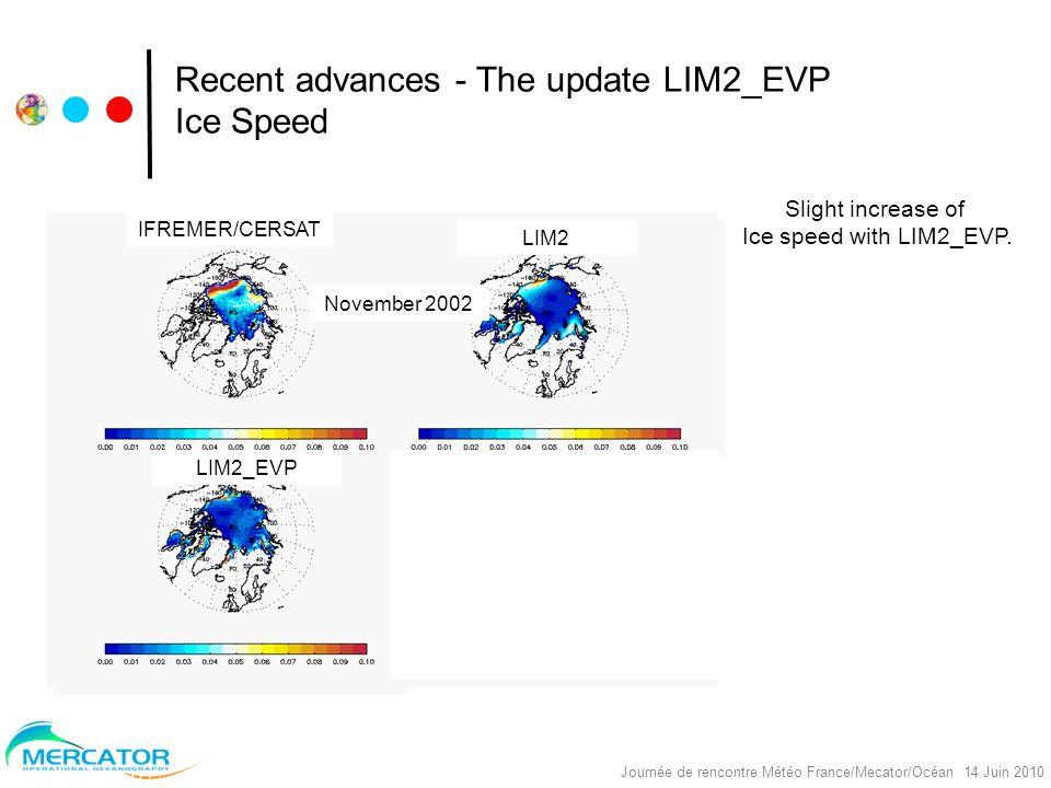 Nereus Project, réunion Océano, Toulouse, 30/09/2008 Journée de rencontre Météo France/Mecator/Océan 14 Juin 2010 Recent advances - The update LIM2_EVP Ice Speed Slight increase of Ice speed with LIM2_EVP.