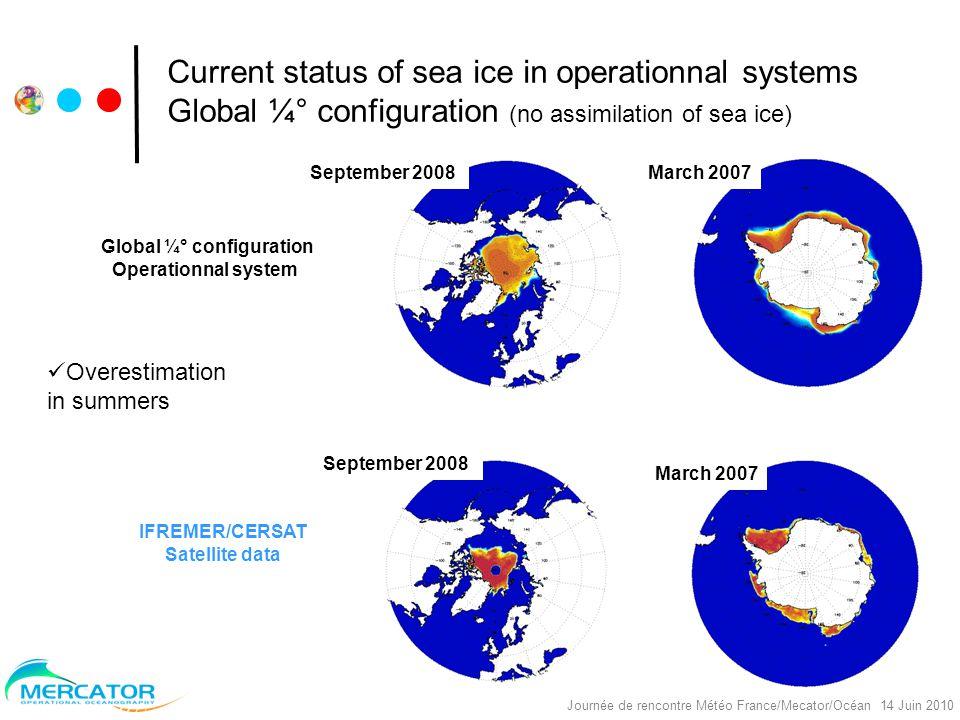 Nereus Project, réunion Océano, Toulouse, 30/09/2008 Journée de rencontre Météo France/Mecator/Océan 14 Juin 2010 Monthly mean ice speed (CERSAT region) (km/day) Recent advances – Impact of diurnal cycle (3H) Tests with ECMWF ERAinterim