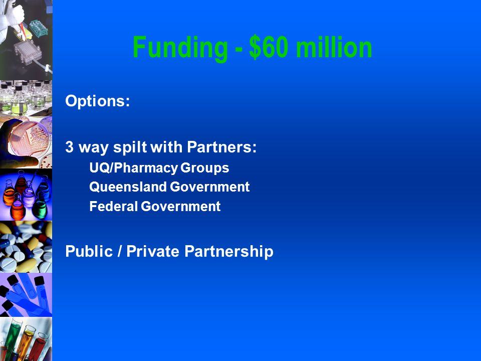 Funding - $60 million Options: 3 way spilt with Partners: UQ/Pharmacy Groups Queensland Government Federal Government Public / Private Partnership