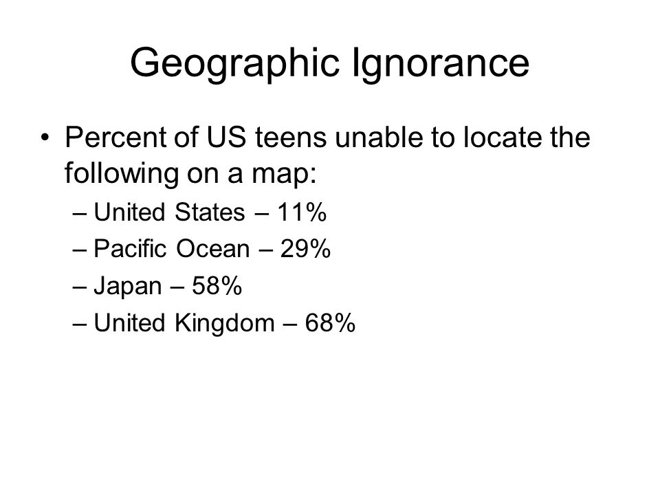 Geographic Ignorance Percent of US teens unable to locate the following on a map: –United States – 11% –Pacific Ocean – 29% –Japan – 58% –United Kingdom – 68%