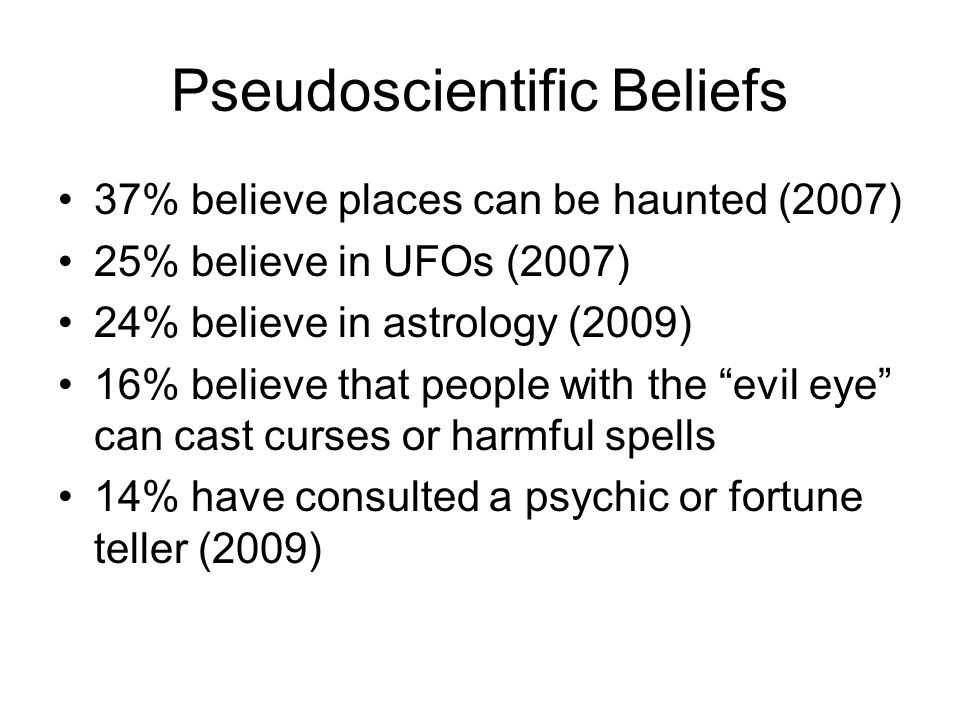 Pseudoscientific Beliefs 37% believe places can be haunted (2007) 25% believe in UFOs (2007) 24% believe in astrology (2009) 16% believe that people with the evil eye can cast curses or harmful spells 14% have consulted a psychic or fortune teller (2009)
