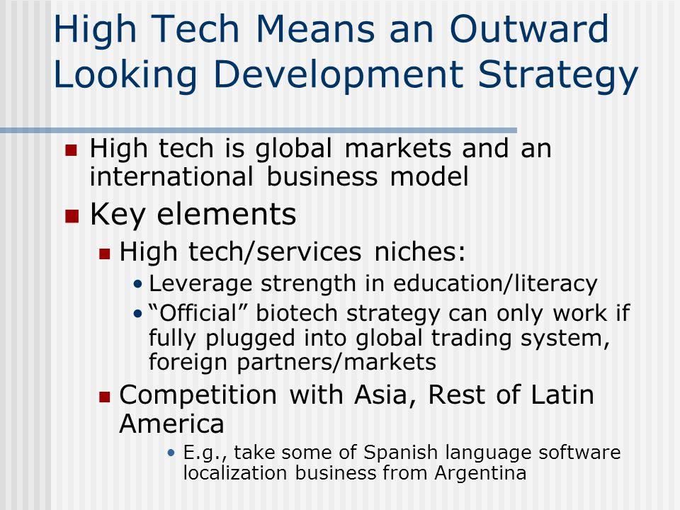 High Tech Means an Outward Looking Development Strategy High tech is global markets and an international business model Key elements High tech/service