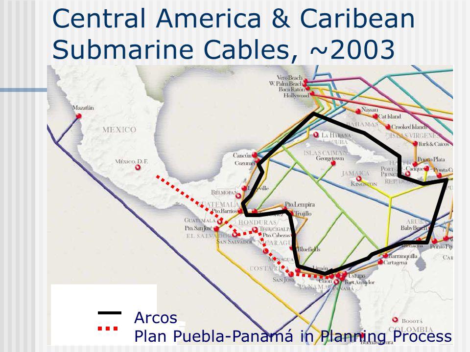 Central America & Caribean Submarine Cables, ~2003 Arcos Plan Puebla-Panamá in Planning Process
