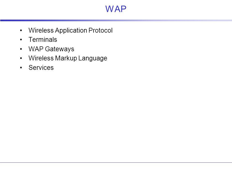 WAP Wireless Application Protocol Terminals WAP Gateways Wireless Markup Language Services