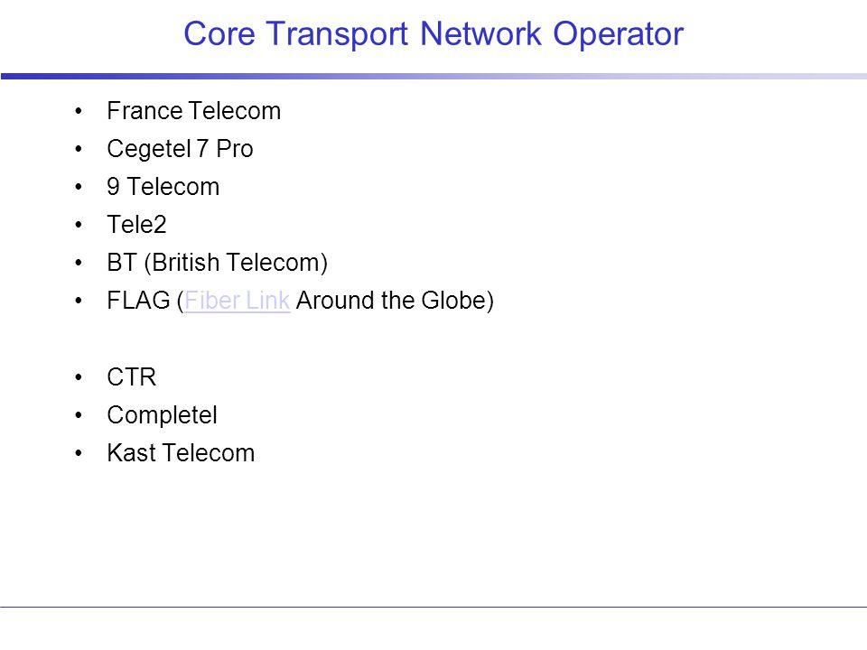 Core Transport Network Operator France Telecom Cegetel 7 Pro 9 Telecom Tele2 BT (British Telecom) FLAG (Fiber Link Around the Globe)Fiber Link CTR Completel Kast Telecom