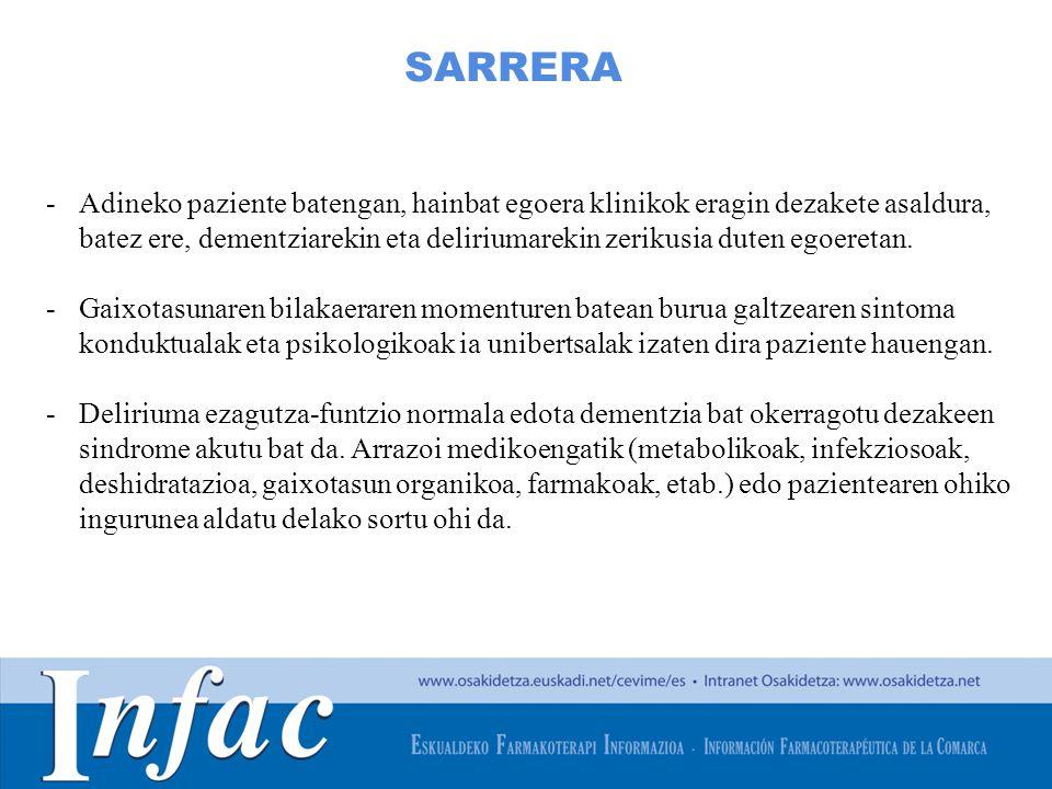 http://www.osakidetza.euskadi.net SARRERA -Adineko paziente batengan, hainbat egoera klinikok eragin dezakete asaldura, batez ere, dementziarekin eta