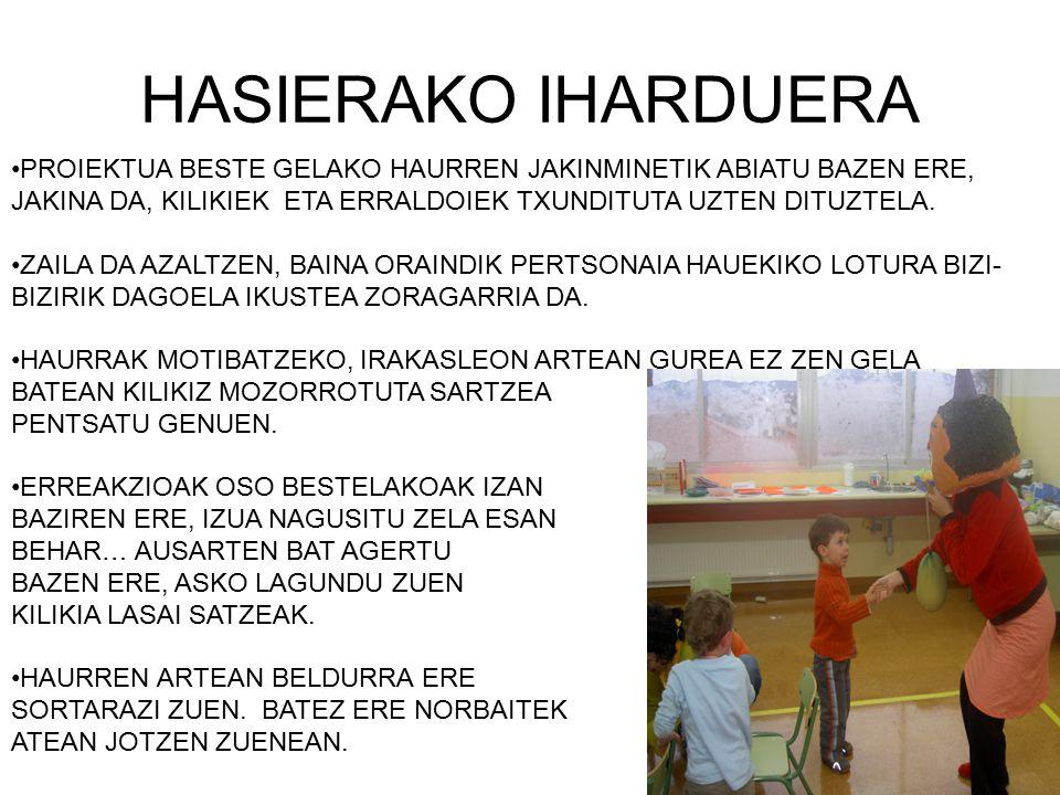 HASIERAKO IHARDUERA PROIEKTUA BESTE GELAKO HAURREN JAKINMINETIK ABIATU BAZEN ERE, JAKINA DA, KILIKIEK ETA ERRALDOIEK TXUNDITUTA UZTEN DITUZTELA. ZAILA