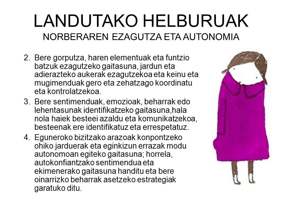 LANDUTAKO HELBURU DIDAKTIKOAK NORBERAREN EZAGUTZA ETA AUTONOMIA 1.GORPUTZ ATALAK EZAGUTZEA: AURPEGIA.