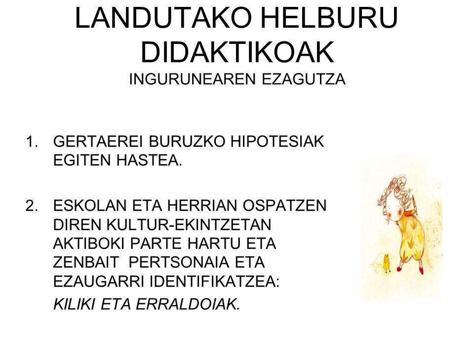 LANDUTAKO HELBURU DIDAKTIKOAK INGURUNEAREN EZAGUTZA 1.GERTAEREI BURUZKO HIPOTESIAK EGITEN HASTEA. 2.ESKOLAN ETA HERRIAN OSPATZEN DIREN KULTUR-EKINTZET