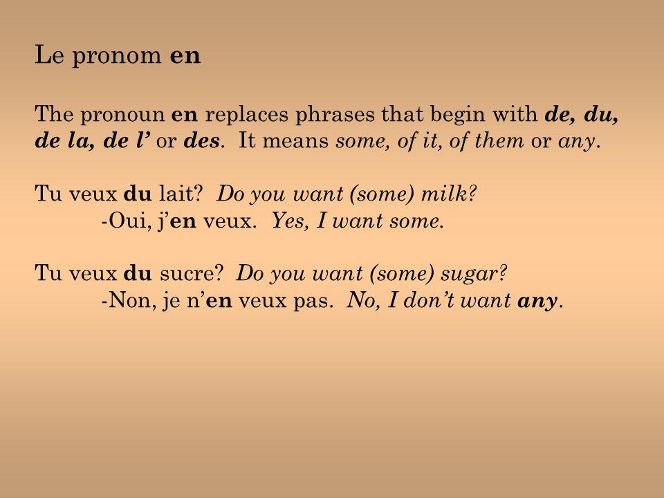 Le pronom en The pronoun en replaces phrases that begin with de, du, de la, de l' or des.