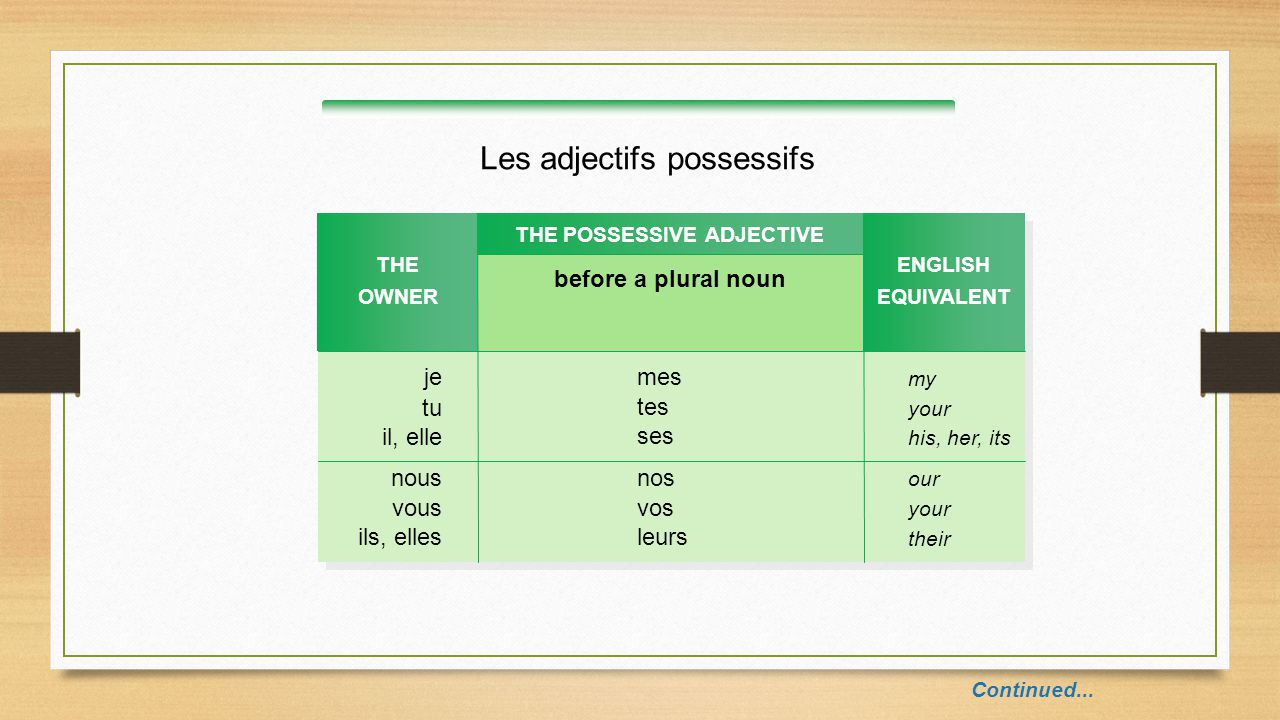 Les adjectifs possessifs Continued... THE OWNER before a plural noun THE POSSESSIVE ADJECTIVE je tu il, elle ENGLISH EQUIVALENT my your his, her, its