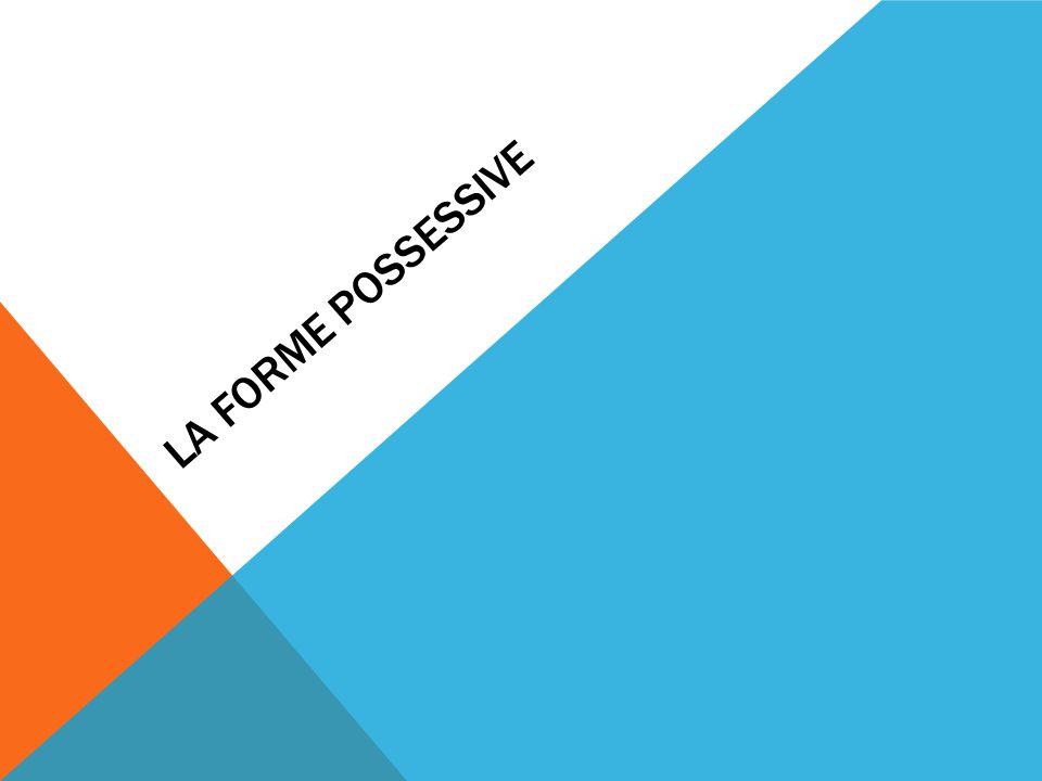 LA FORME POSSESSIVE