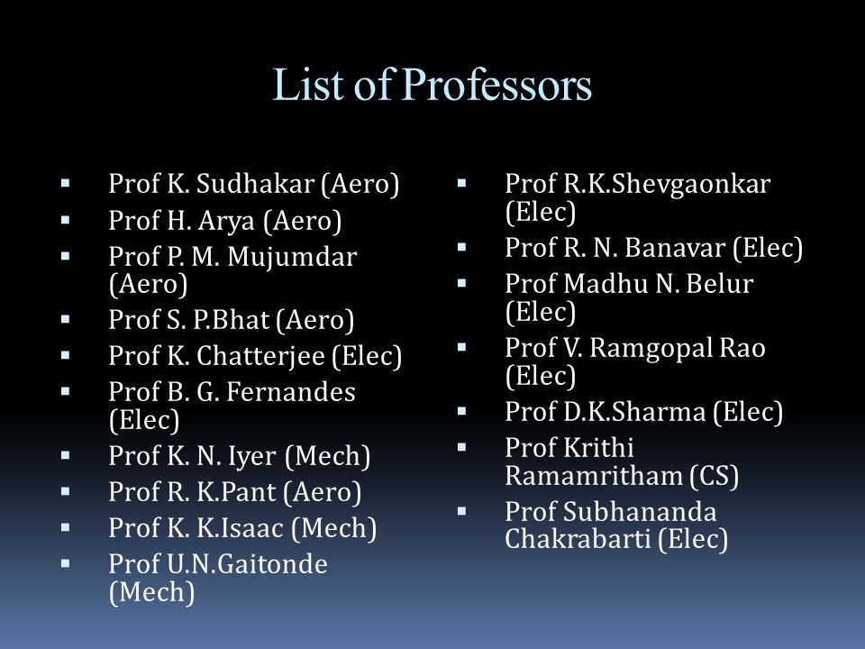 List of Professors  Prof K. Sudhakar (Aero)  Prof H.