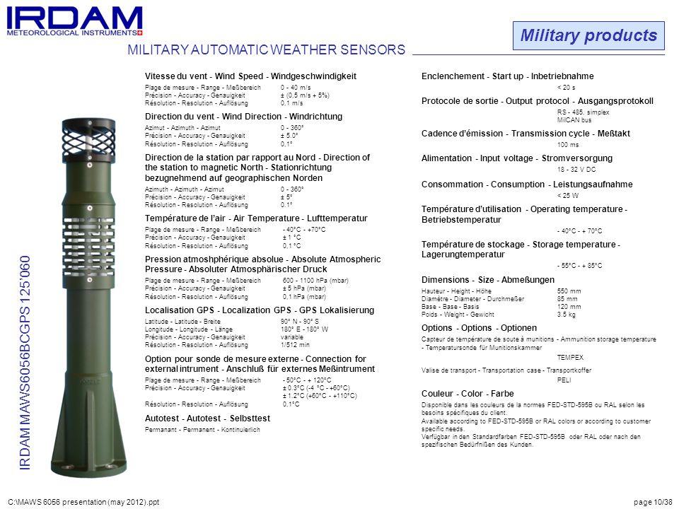 Military products IRDAM MAWS6056BCGPS 125'060 Vitesse du vent - Wind Speed - Windgeschwindigkeit Plage de mesure - Range - Meßbereich0 - 40 m/s Précis
