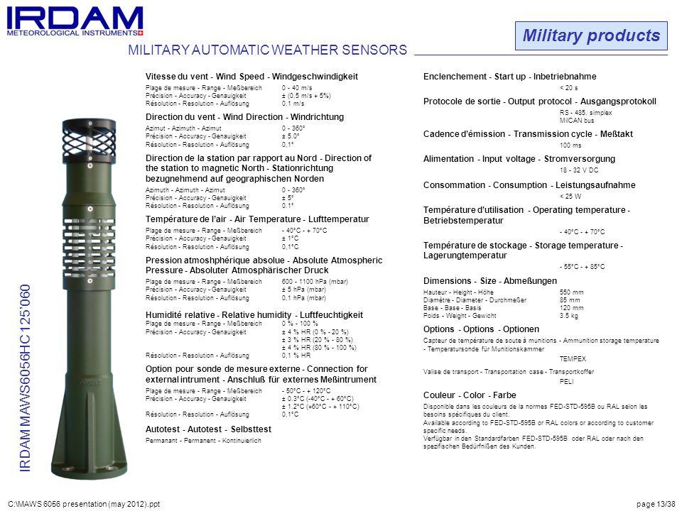 Military products IRDAM MAWS6056HC 125'060 Vitesse du vent - Wind Speed - Windgeschwindigkeit Plage de mesure - Range - Meßbereich0 - 40 m/s Précision