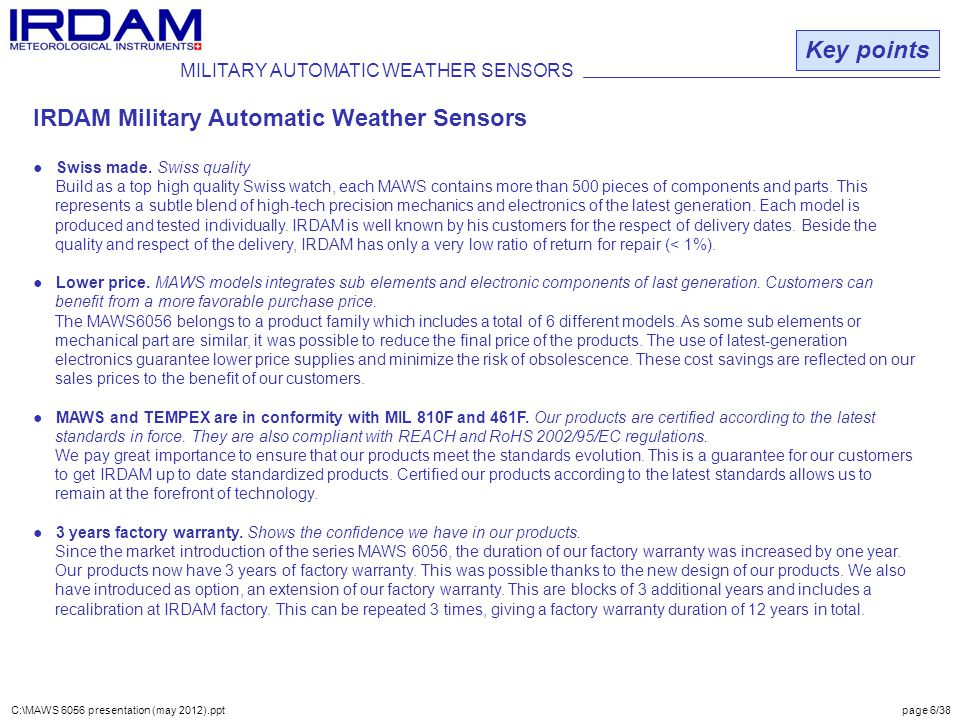 MILITARY AUTOMATIC WEATHER SENSORS Key points IRDAM Military Automatic Weather Sensors ● Swiss made.