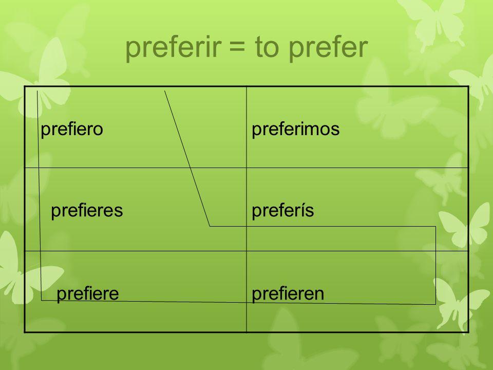 preferir = to prefer prefieropreferimos prefierespreferís prefiereprefieren