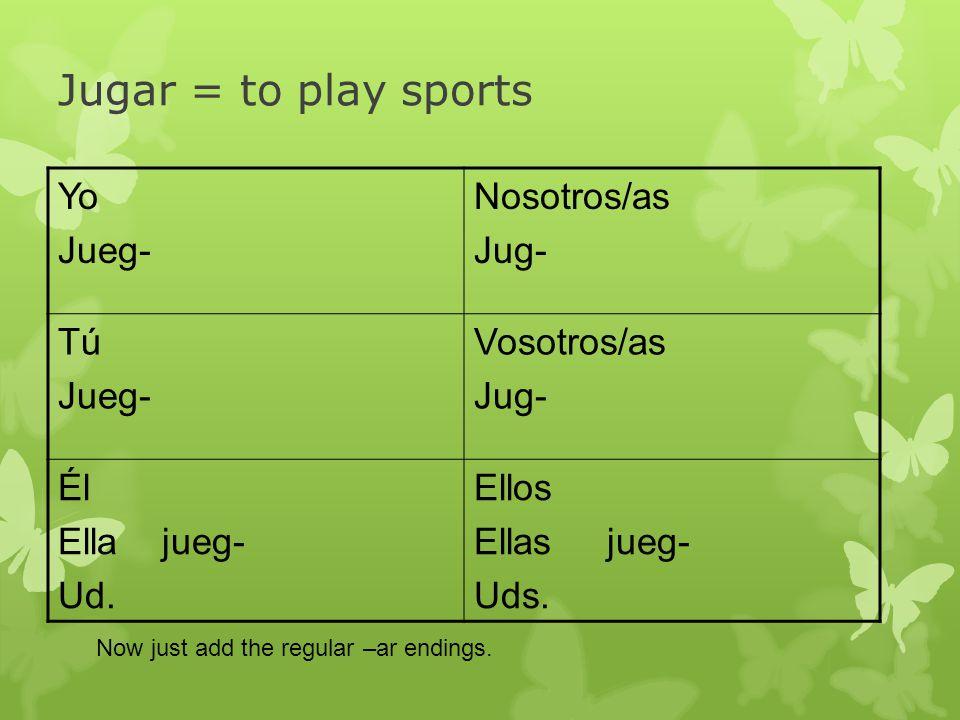 Jugar = to play sports Yo Jueg- Nosotros/as Jug- Tú Jueg- Vosotros/as Jug- Él Ella jueg- Ud. Ellos Ellas jueg- Uds. Now just add the regular –ar endin