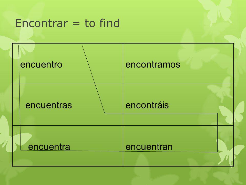 Encontrar = to find encuentroencontramos encuentrasencontráis encuentraencuentran