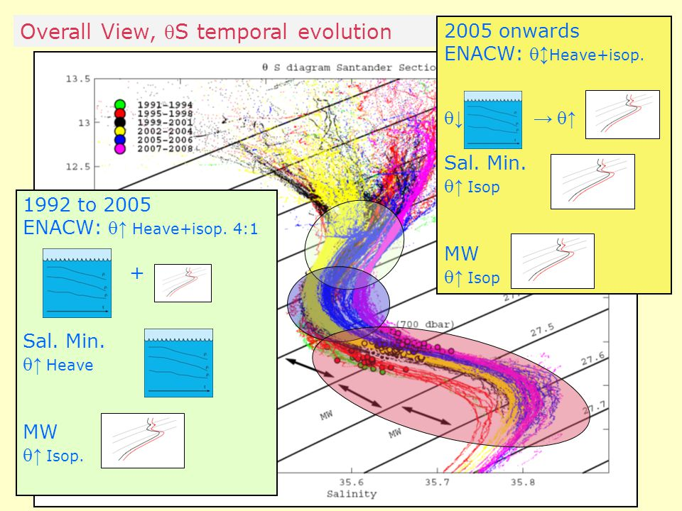 Overall View, S temporal evolution 1992 to 2005 ENACW:  ↑ Heave+isop.