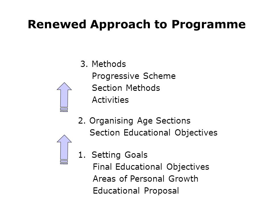 3. Methods Progressive Scheme Section Methods Activities 1.Setting Goals Final Educational Objectives Areas of Personal Growth Educational Proposal 2.
