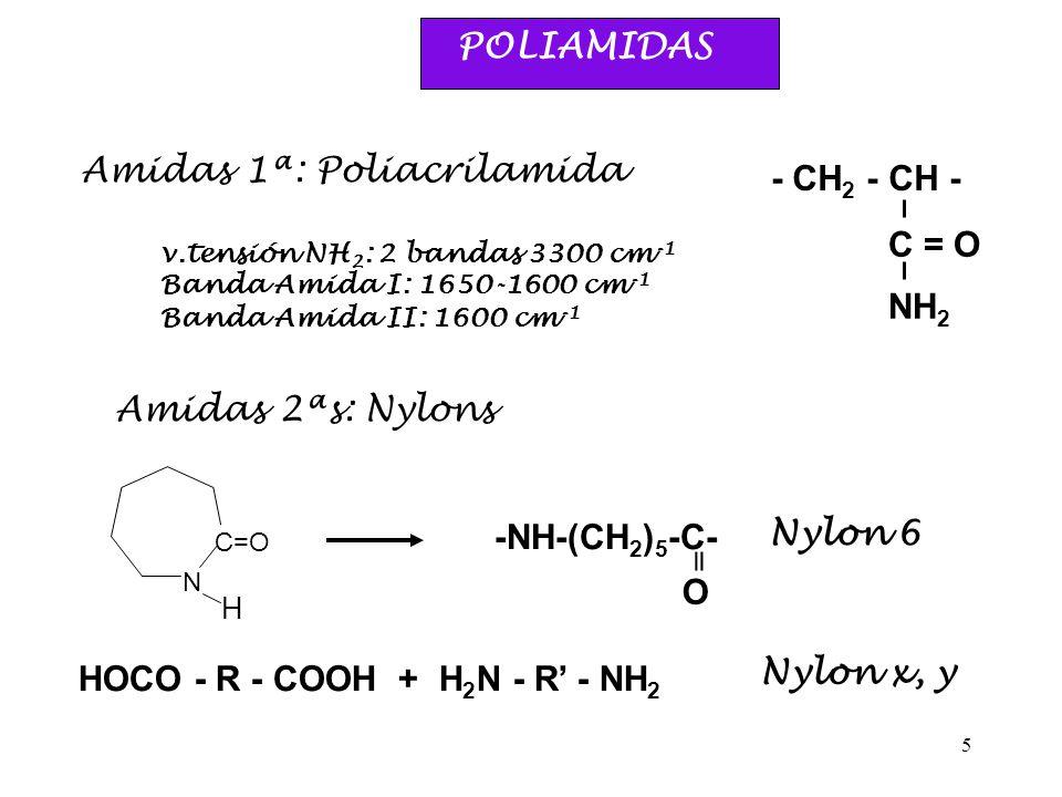5 POLIAMIDAS Amidas 1ª: Poliacrilamida - CH 2 - CH - C = O NH 2 v.tensión NH 2 : 2 bandas 3300 cm -1 Banda Amida I: 1650-1600 cm -1 Banda Amida II: 16