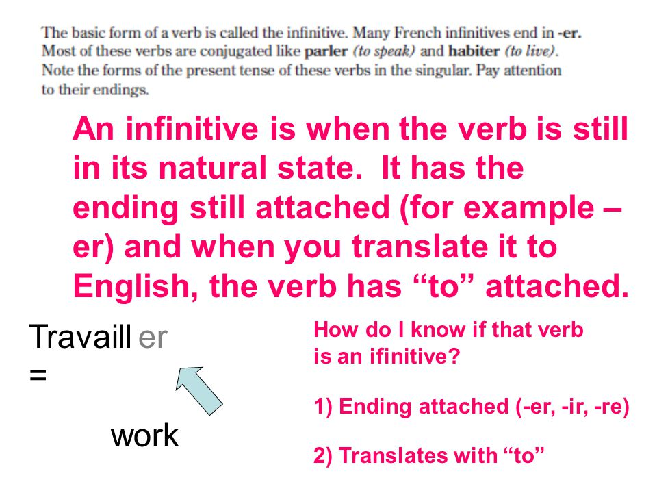 An infinitive is when the verb is still in its natural state.