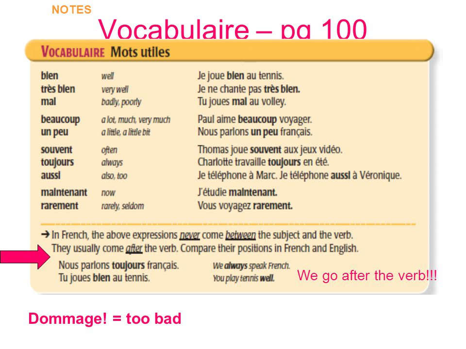 Vocabulaire – pg 100 NOTES We go after the verb!!! Dommage! = too bad