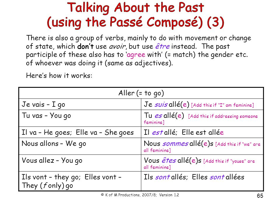 © K of M Productions, 2007/8; Version 1.2 65 There is also a group of verbs, mainly to do with movement or change of state, which don't use avoir, but use être instead.