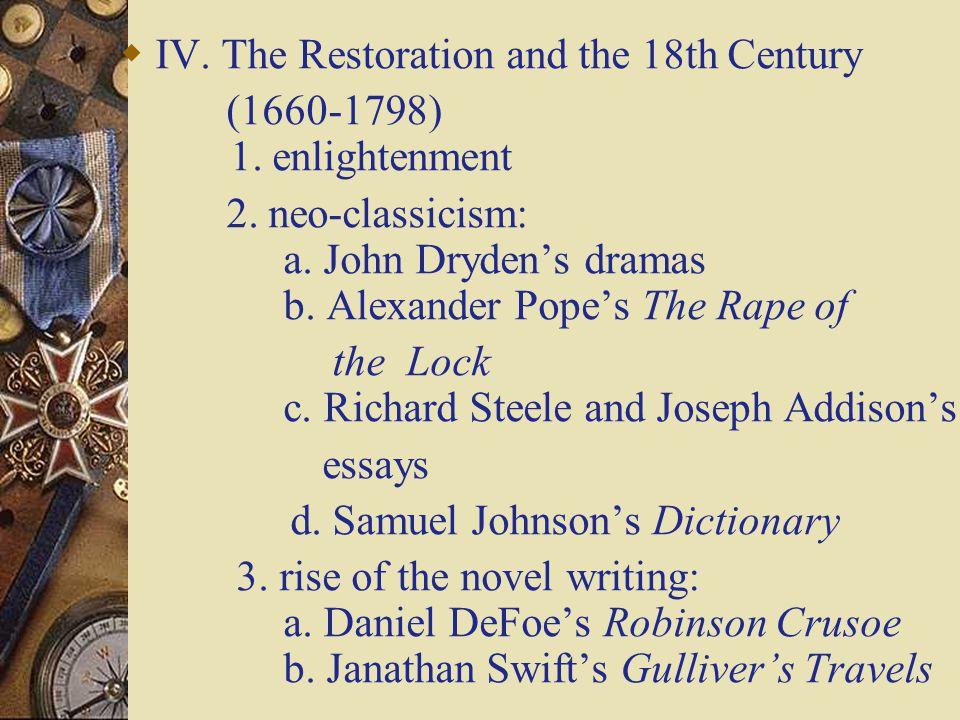  V.The Age of Romanticism (1798-1830) 1. Pre-Romanticism : a.