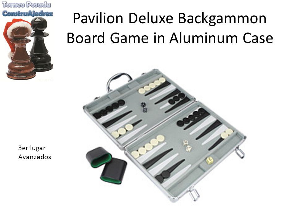 Pavilion Deluxe Backgammon Board Game in Aluminum Case 3er lugar Avanzados