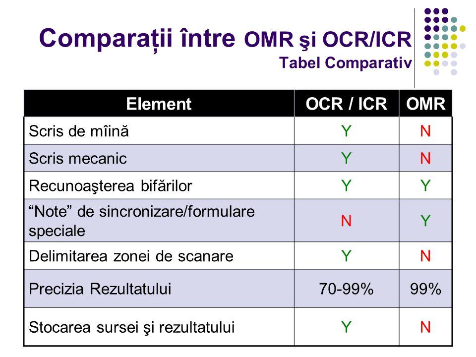"""Comparaţii între OMR şi OCR/ICR Tabel Comparativ ElementOCR / ICROMR Scris de mîinăYN Scris mecanicYN Recunoaşterea bifărilorYY """"Note"""" de sincronizare"""
