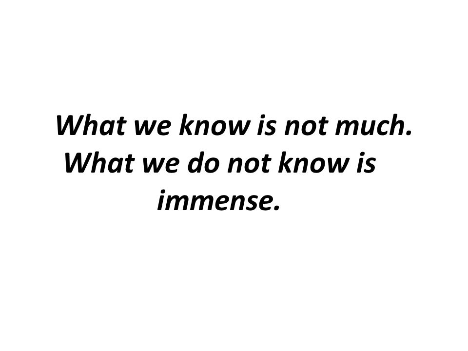 What we know is not much. What we do not know is immense.