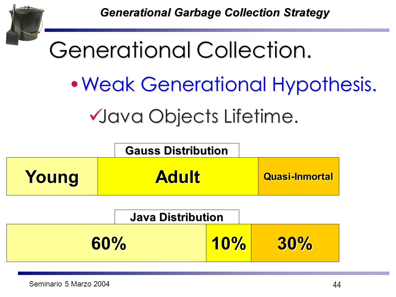 Seminario 5 Marzo 2004 44 Generational Garbage Collection Strategy Generational Collection. Weak Generational Hypothesis.Weak Generational Hypothesis.
