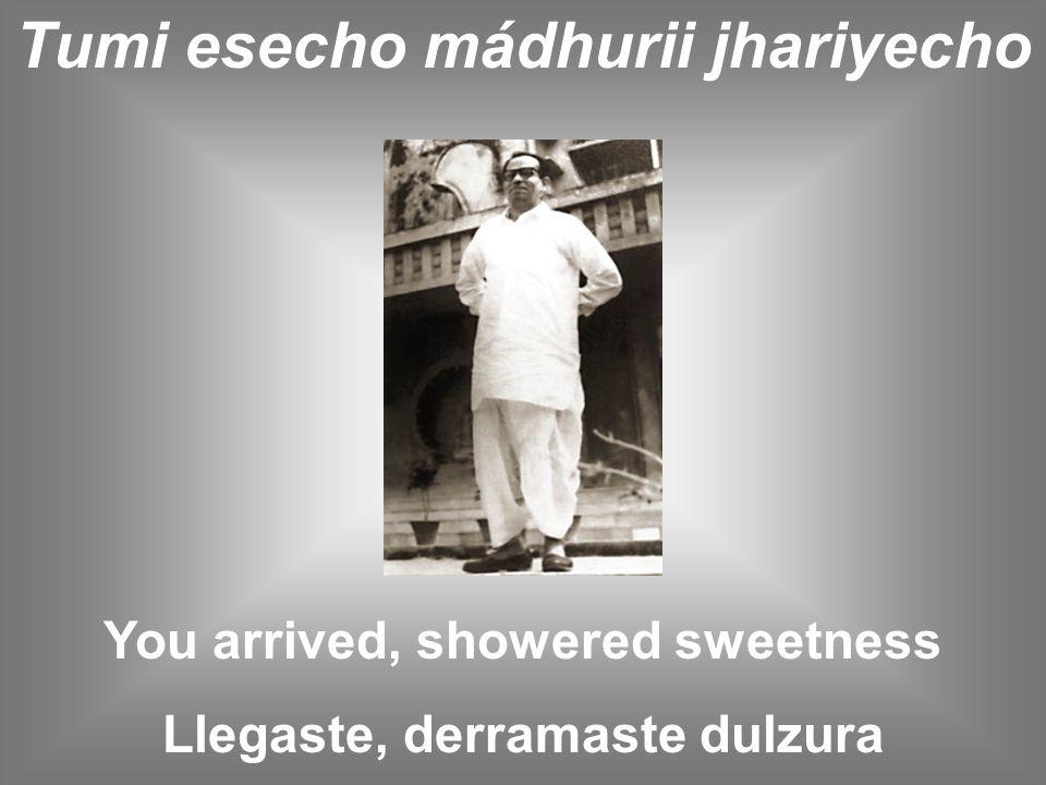 Tumi esecho mádhurii jhariyecho You arrived, showered sweetness Llegaste, derramaste dulzura