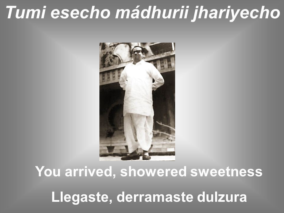 Tumi esecho mádhurii jhariyecho You arrived, showered sweetness Llegaste, derramaste dulzura