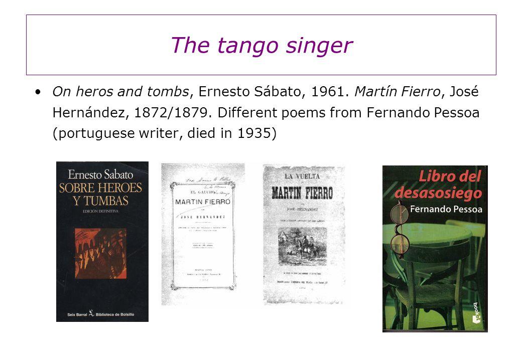 The tango singer On heros and tombs, Ernesto Sábato, 1961.