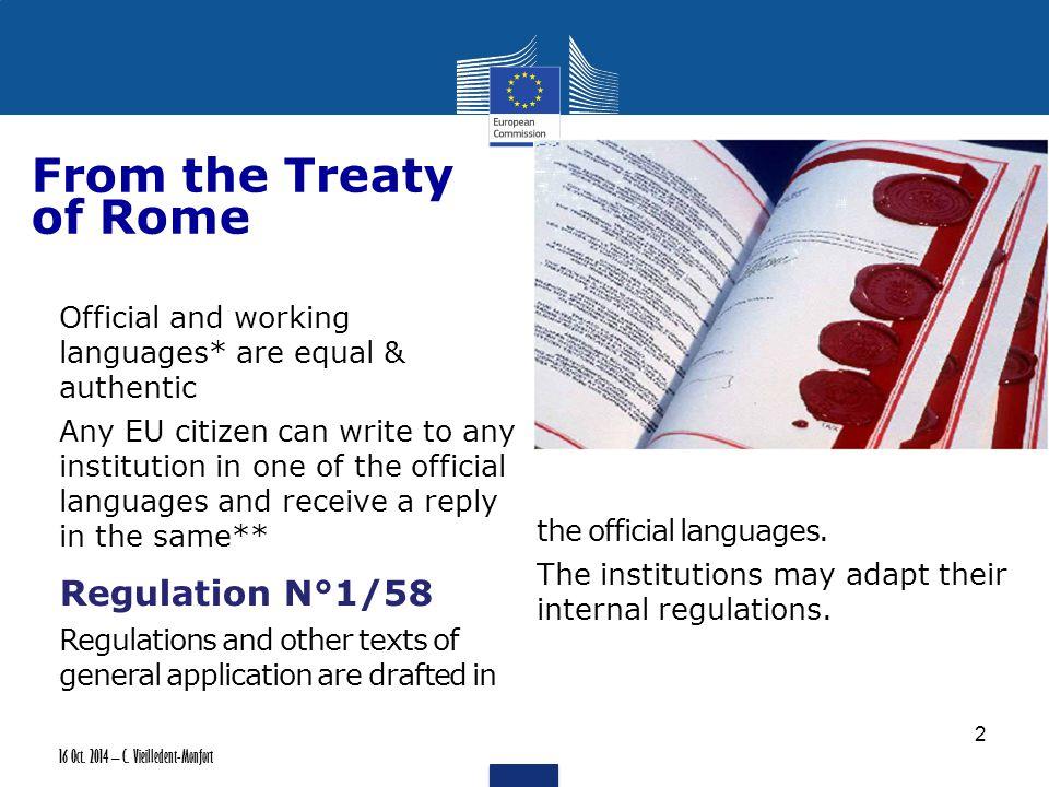 16 Oct.2014 – C. Vieilledent-Monfort To the Lisbon Treaty: Deepening 1.