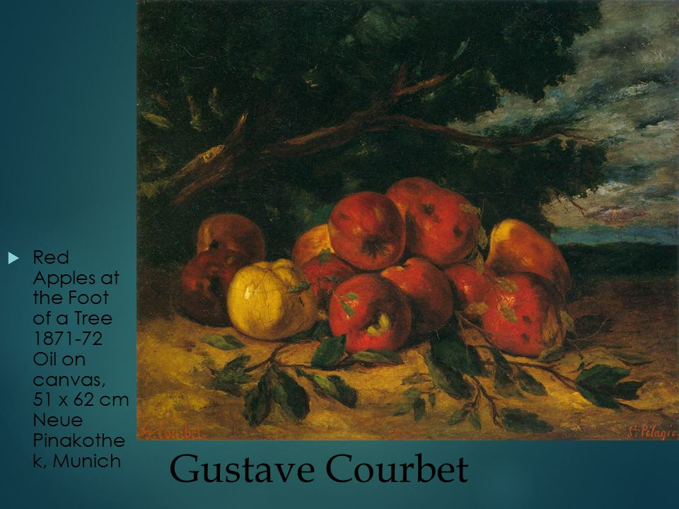 Gustave Courbet  Red Apples at the Foot of a Tree 1871-72 Oil on canvas, 51 x 62 cm Neue Pinakothe k, Munich